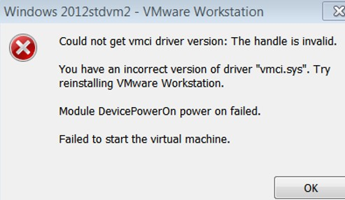 VM fails to start incorrect version of driver vmci.sys